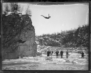 Brownies diving into icy water, Manchester, N.H.