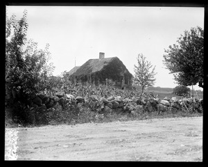 Stone wall and vine covered house, N.H.