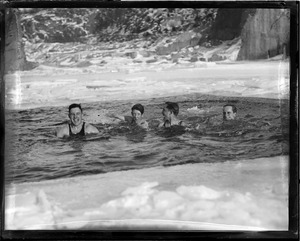 Brownies in icy water, Manchester, N.H.