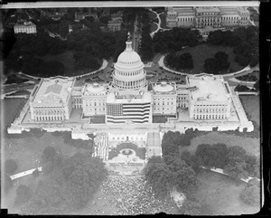 Capitol, Washington D.C. from the air celebrating the birth of Old Glory