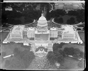 U.S. capitol from the air celebrating birth of Old Glory