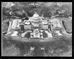 Capitol from the air as Franklin Delano Roosevelt takes oath of office