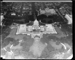 Capitol from the air celebrating birth of Old Glory
