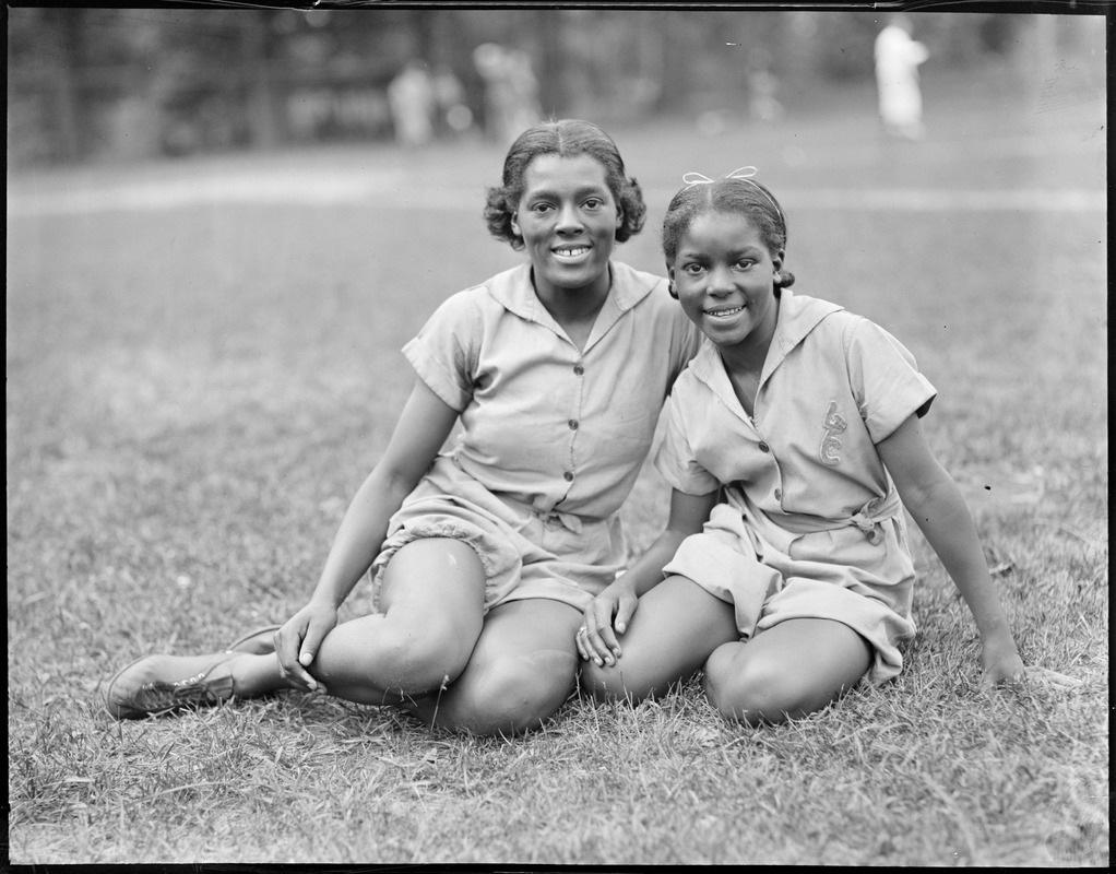 Runners Louise, left, and Agnes Stokes at Norumbega track meet (African-American)