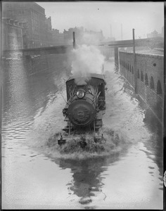 New Haven R.R. , Loco 502, near Back Bay - high water on tracks