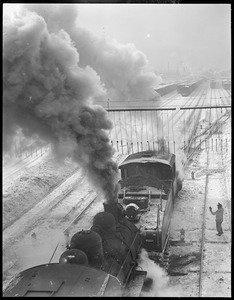 Engines pulling coal to Boston. For R.R., not people.