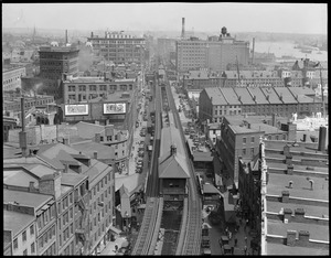 Atlantic Ave. showing elevated station at Rowe's Wharf, from U.S. Custom Appraisers' stores