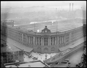 Bird's eye view of South Station after tearing down train shed