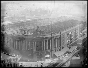 Bird's eye view of South Station showing the train shed being torn down