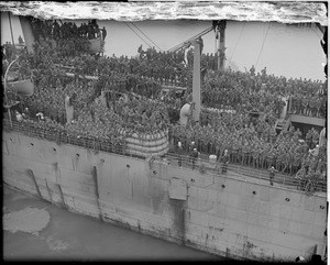 Remarkable loaded troopship SS Magnolia as she docked at new army base, South Boston (first to dock there)