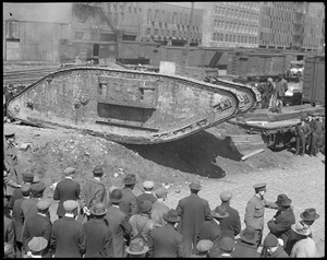 British tank Britannia arrives in Boston for big Liberty Loan Drive, WWI era