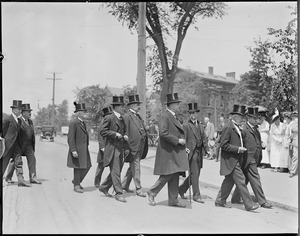Procession of prominent men at Harvard led by Pres. Lowell and ex-president Elliott after war was declared on Germany.