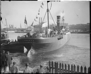 Belgium relief ship SS Lynorta leaves Boston with food for starving Belgians