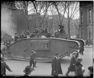 British tank Britannia gives Dorothy Forbes and friends a ride through Boston