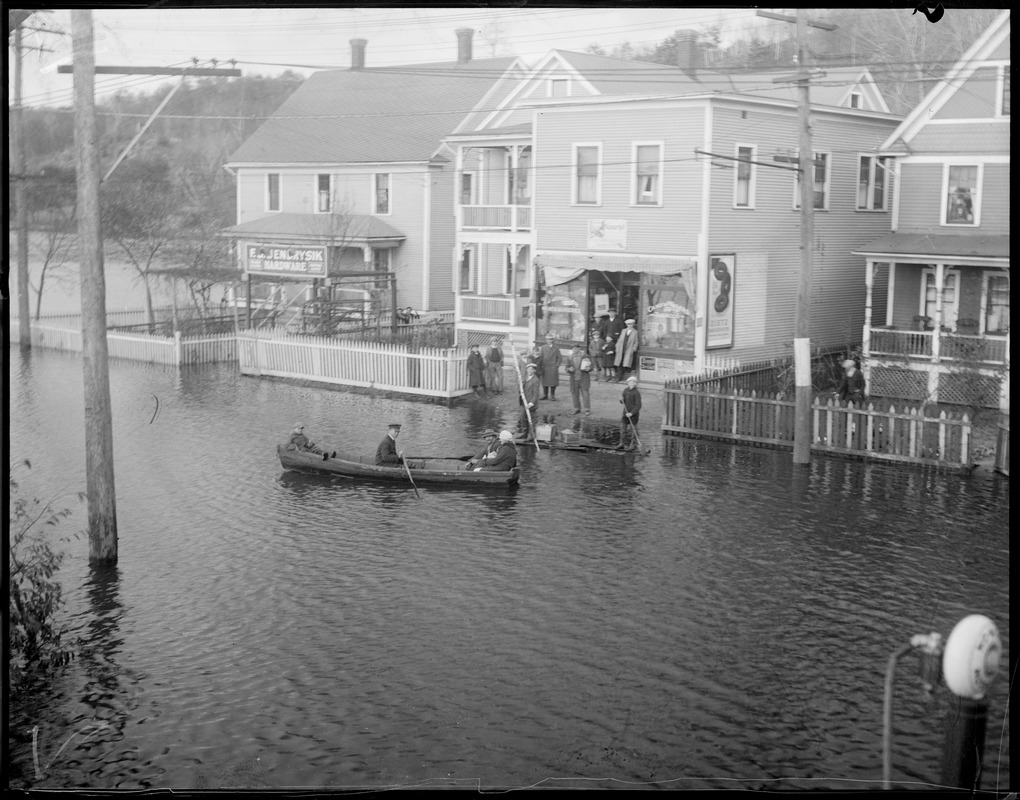 Canoeing in flooded street in Bellows Falls