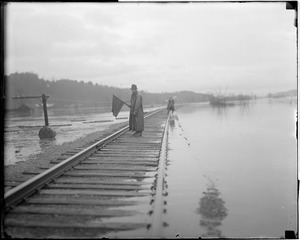 Railroad tracks threatened by flood, Bellows Falls, Vermont