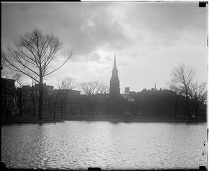 "Storm, Boston: ""After a storm"" Boston Public Gardens toward Arlington St. Church"