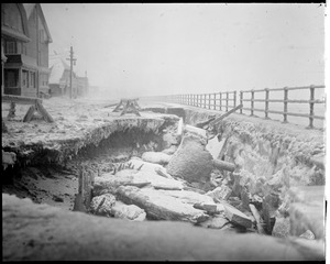 Winthrop storm Shore Drive, seawall gone