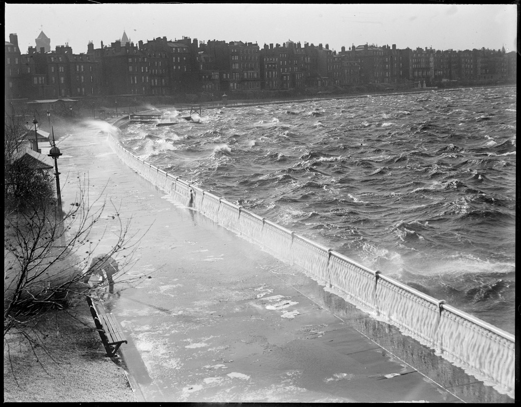 Rough water on the Charles batters Esplanade and the Back Bay