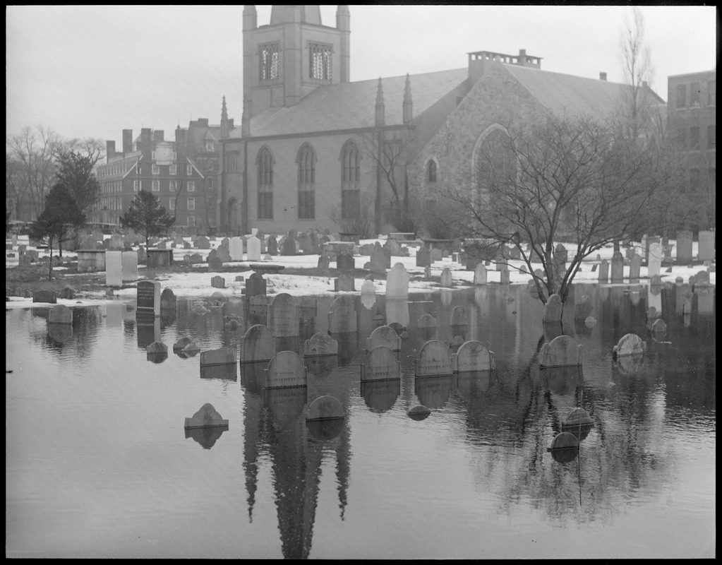 Flooded cemetery in Cambridge