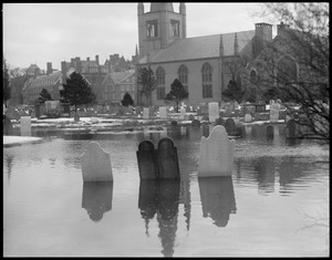 Historic graves under water in Cambridge