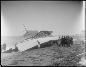 Pleasure craft blown ashore at Wollaston Beach by Northeast storm