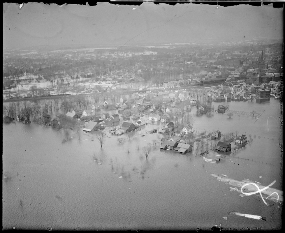 Aerial photo of flooded town