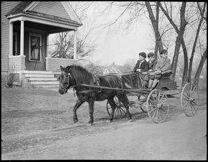 Children in pony cart, New England flood
