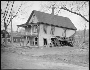 Flood damages house in Colebrook, New Hampshire