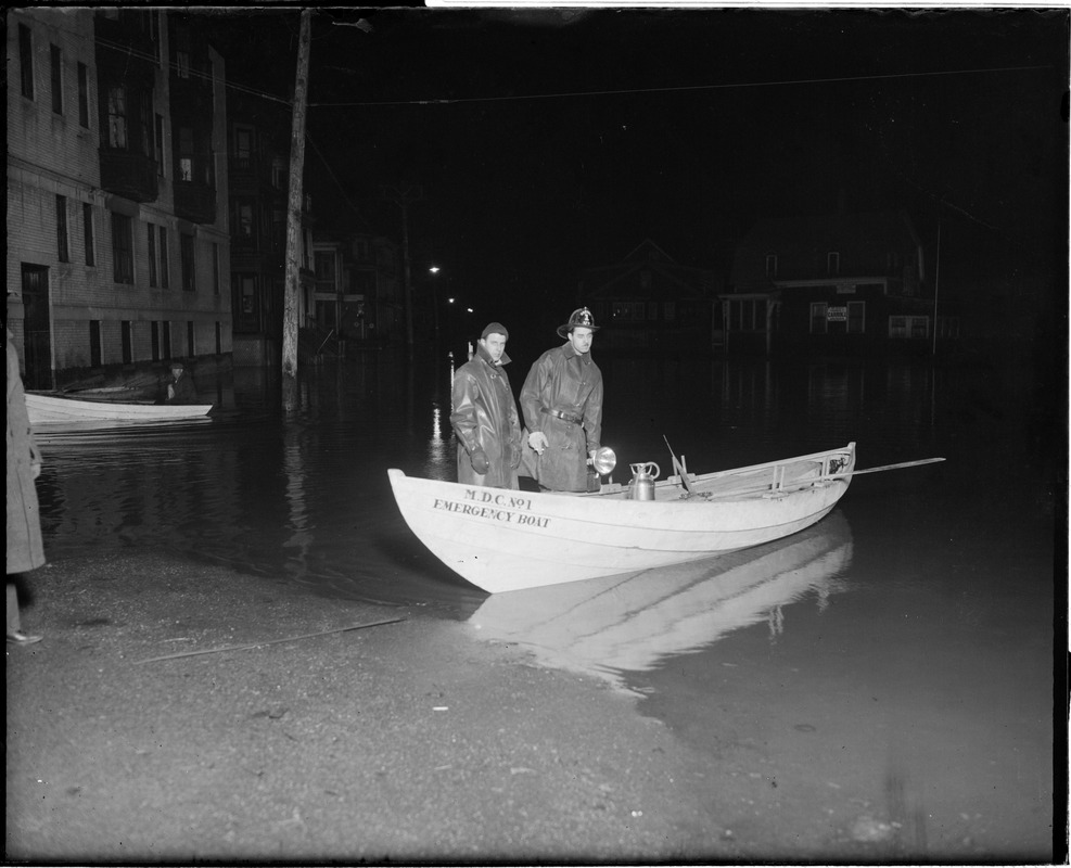 MDC emergency boat at site of flooding in Revere