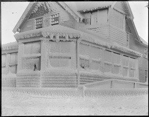Winthrop, Shore Drive, ice-covered house - storm