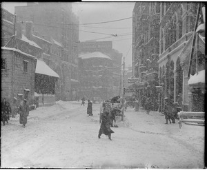 Remarkable snowstorm, big blizzard as it appeared on Scollay square