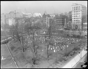 Old graveyard, Boston Common, from Boylston St. Park Sq.