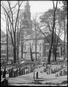 Burying ground, Park and Tremont Sts. showing burial of Franklin