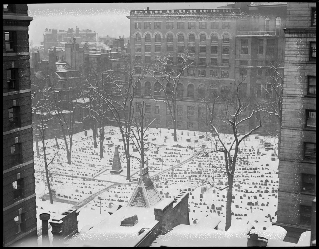 Bird's eye of Old Granary Burial Grounds, in the snow