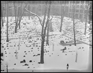 Old Granary Burial Ground in the snow