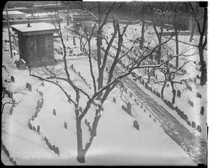 Copp's Hill Burial Ground in the snow, North End