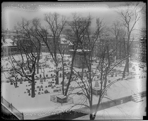 Copp's Hill Burial Ground, North End, in the snow