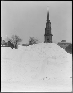 State House after snowstorm - Tremont St. and Park St. Church