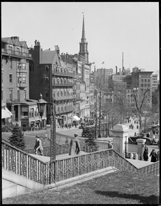 View toward Park Street Church from State House steps