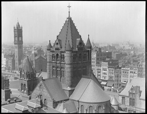 Bird's eye view of Trinity Church and new Old South Church from new John Hancock building