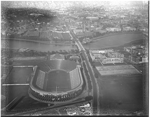 Aerial view of Harvard Stadium and Business School