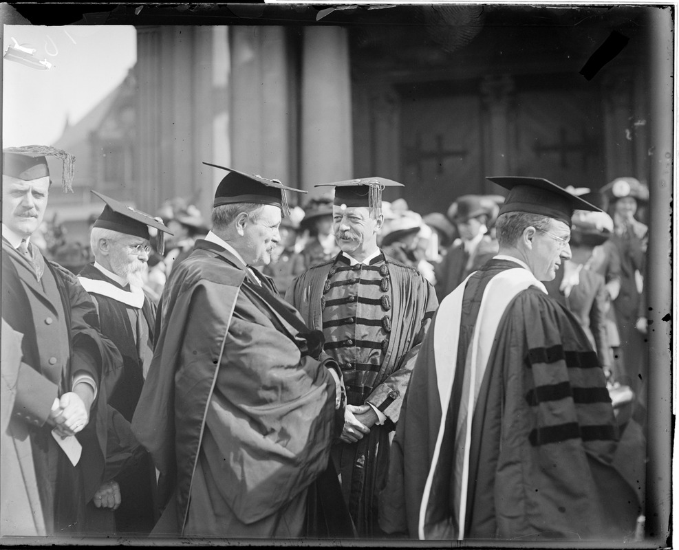 Pres. Lowell of Harvard speaking with Gov. Foss on Harvard Class Day