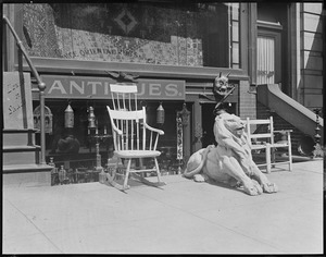 Antique store on Boylston Street with carved lion
