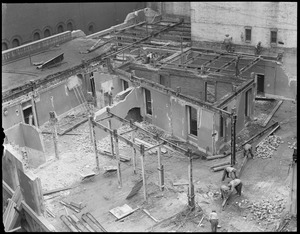 Dining room of Adams House being torn down