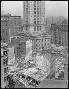 Buildings being demolished at base of the Custom House Tower