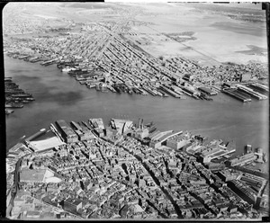 Aerial view of North End and East Boston