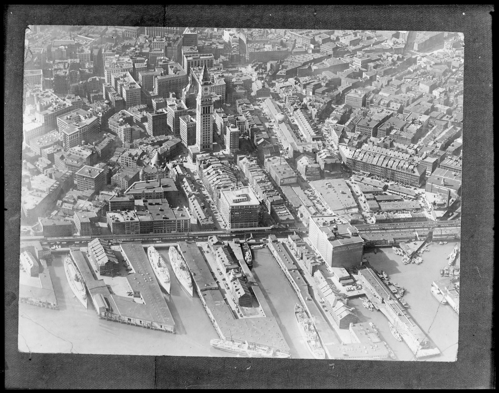 Aerial view of Boston waterfront, Custom House Tower and Faneuil Hall Market