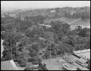 Bird's eye view from Statler Hotel showing the Garden and Common