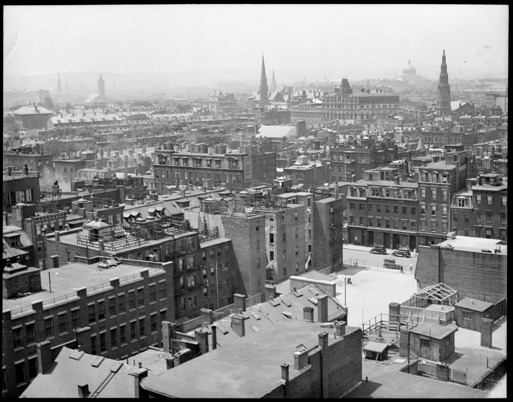 Bird's eye view of South End toward Back Bay and Beacon Hill from Washington Street and Arlington Street